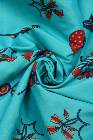 Aqua Floral Printed Screen Cotton Print Fabric