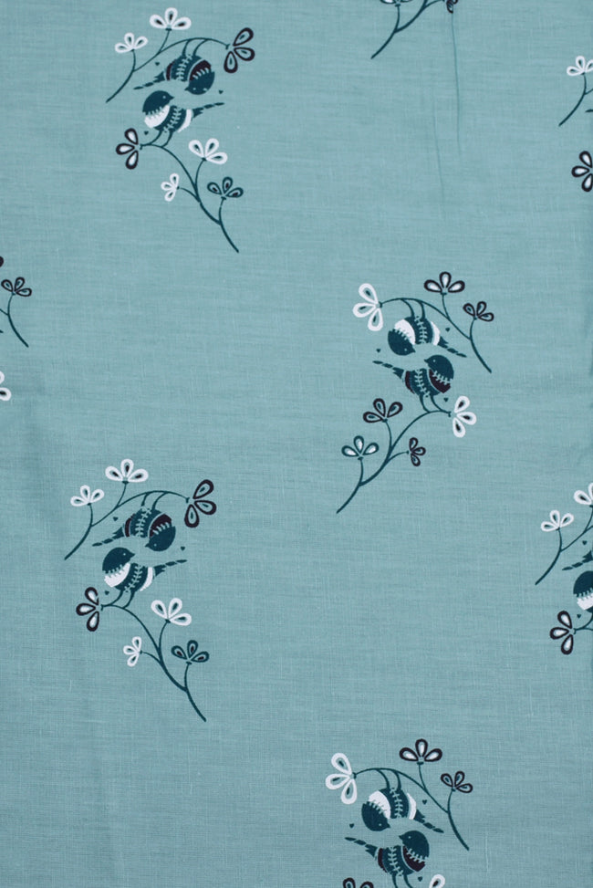Light Green Floral Printed Screen Cotton Print Fabric