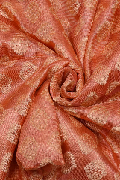 Peach  Brasso Silk Fabric