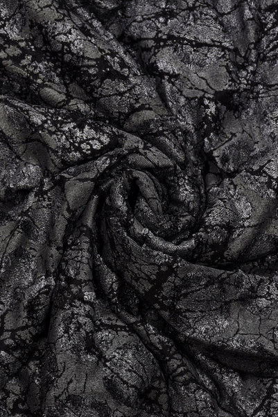 Black Flower Brasso  Silk Fabric
