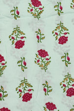 Light Green Flower Printed Screen Cotton Print Fabric