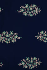 Blue Flower Printed Screen Cotton Print Fabric