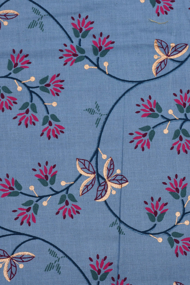 Dark Blue Flower Printed Screen Cotton Print Fabric