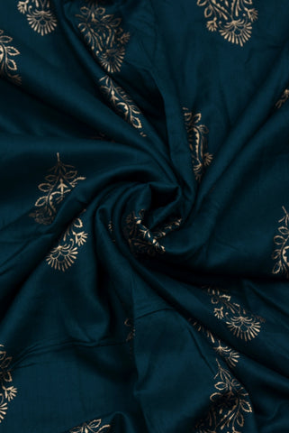 Dark Green Flower Printed Rayon