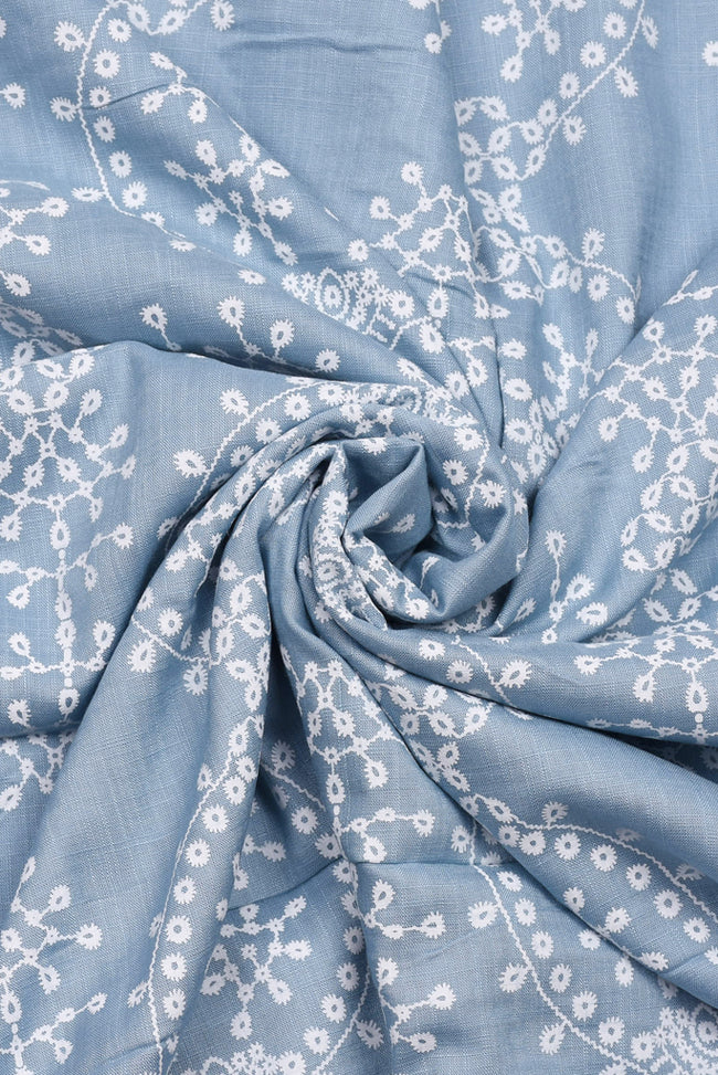 Blue Screen Rayon  Print Fabric