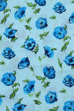Sky Blue Floral Printed Screen Cotton Print Fabric