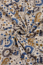 Cream Elephant Print Kantha Cotton Fabric