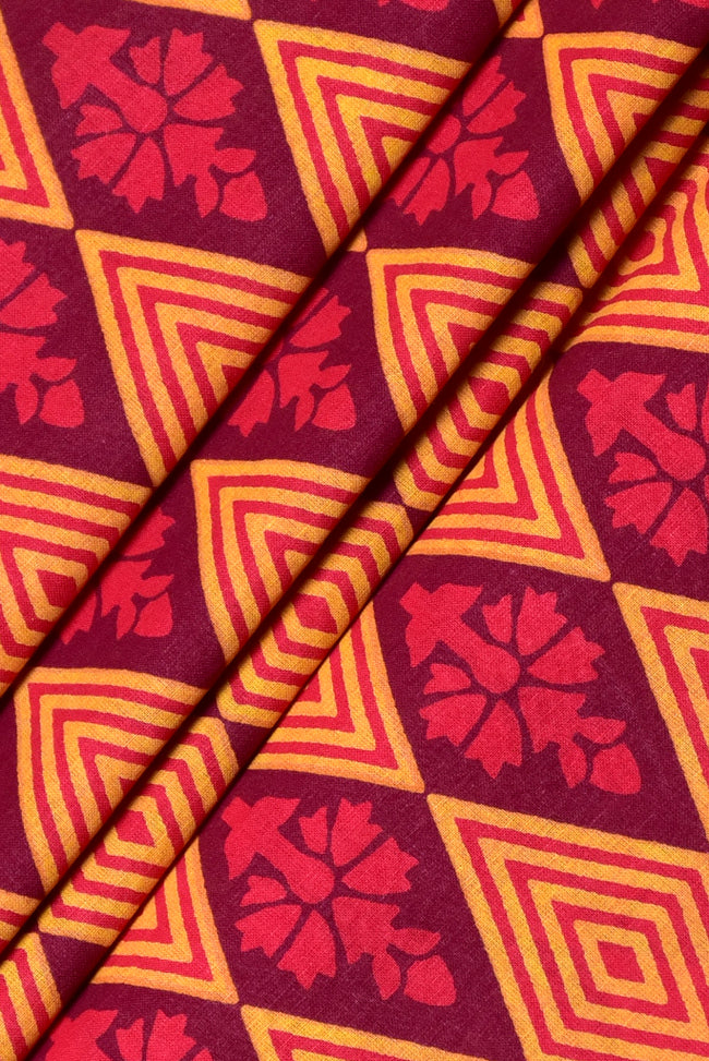 Yellow & Red Flower Print Cotton Fabric