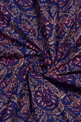 Blue Leaf Print Rayon Fabric