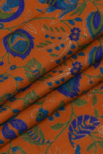 Orange and Blue Leaf Printed Cotton Fabric