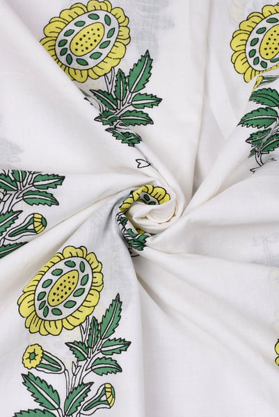 White Flower Printed Cotton Fabric