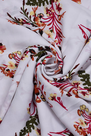 White Floral Print Georgette Fabric