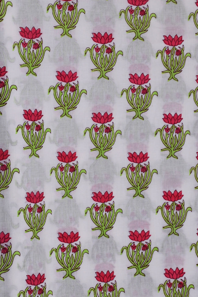 White Flower Printed Fabric