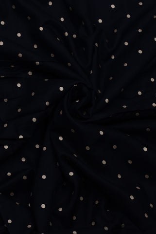 Black Polka Rayon Gold Print Fabric