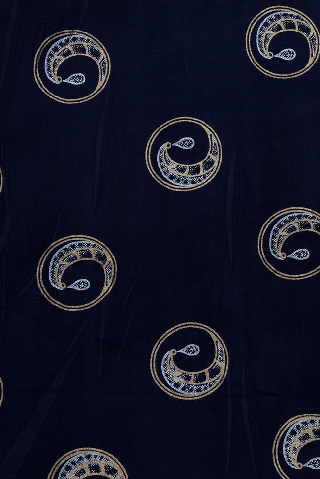 Navy Blue Golden Print Rayon Fabric
