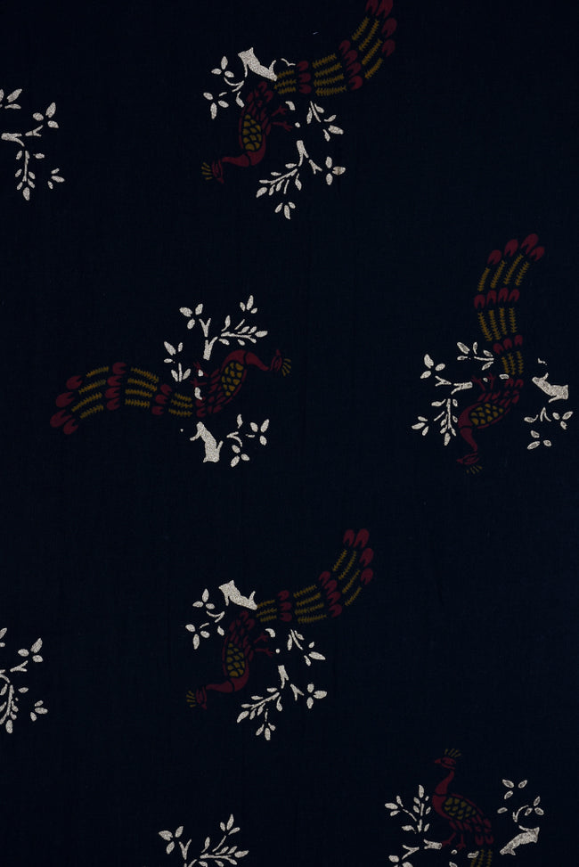 Navy Blue Tree & Peacock Print Screen Cotton Printed Fabric