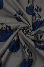 Grey Flower Printed Fabric