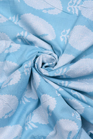 Sky Blue Paisley Print Screen Cotton Printed Fabric