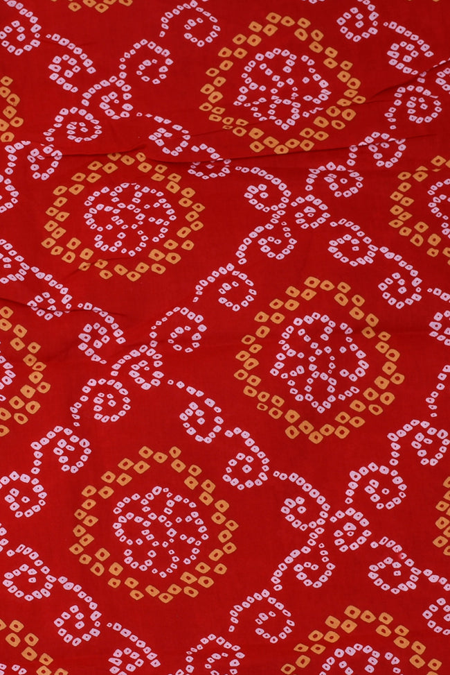 Red Bandhej Cotton Fabric