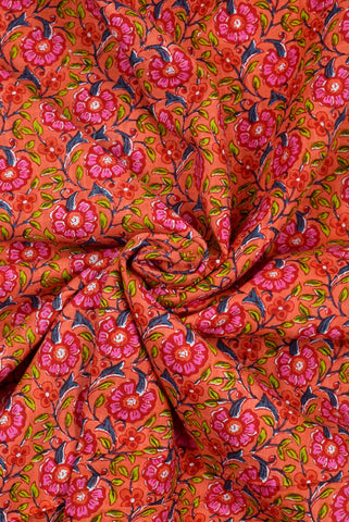 Orange Floral Print Cotton Fabric