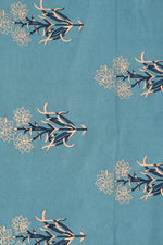 Teal Blue Floral Print Cotton Fabric