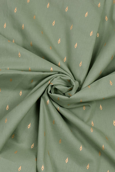 Olive Green Printed Cotton Fabric