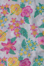 White Floral Print Cotton Fabric
