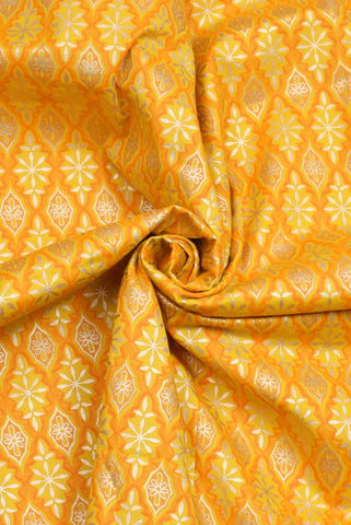 Yellow Flower Print Cotton Gold Printed Fabric