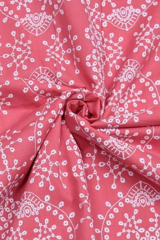 Pink Benzene Print Screen Cotton Printed Fabric