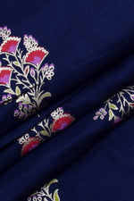 Blue Floral Hand Block Printed Rayon Fabric