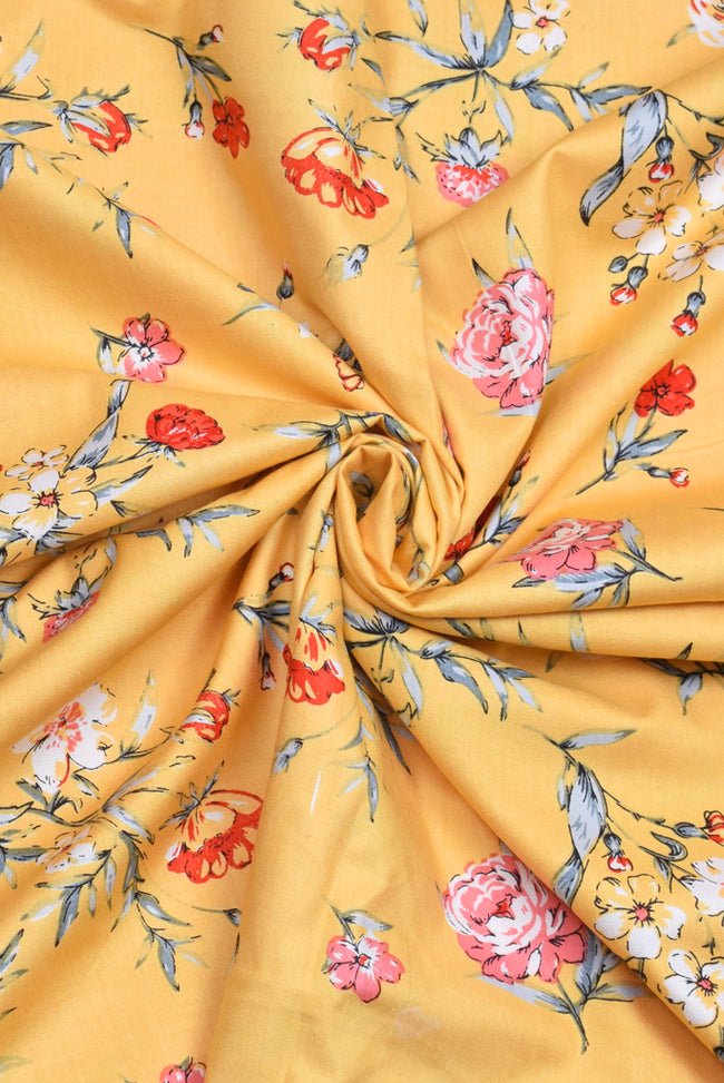 Yellow Floral Rayon Fabric
