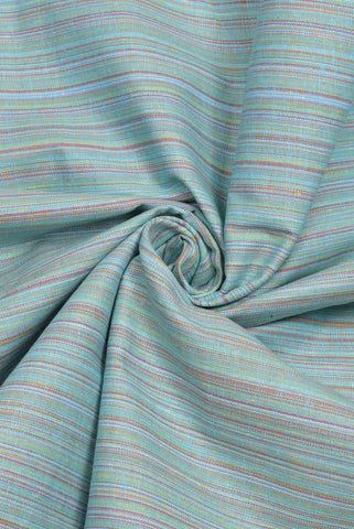 Striped Light Green Printed Cotton Fabric