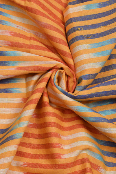 Orange Lining Print Khadi Cotton Printed Fabric