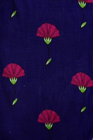 Blue Flower Printed Mughal Cotton Fabric