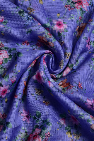 Pink Floral Printed Mughal Cotton Fabric