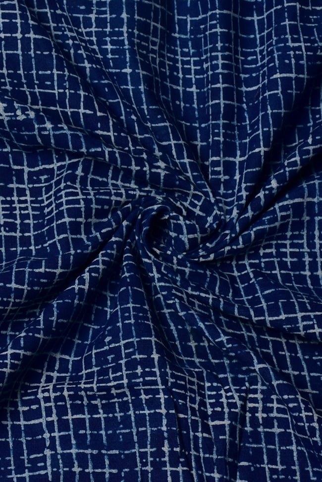 Blue Stripes Print Cotton Fabric
