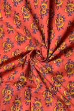 Orange Flower Print Cotton Fabric