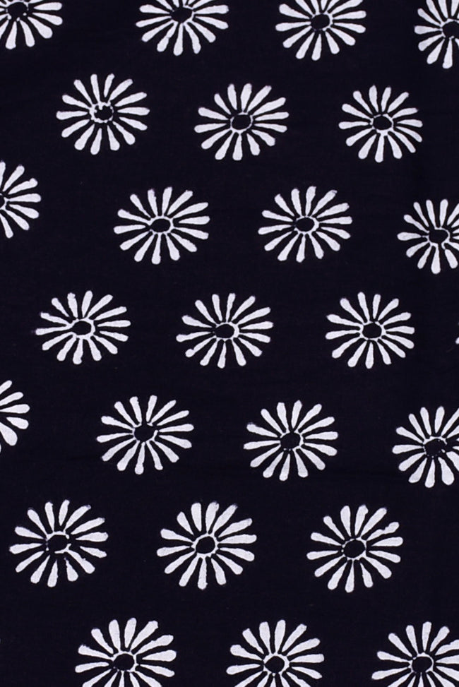 Dark Blue Flower Print Cotton Fabric