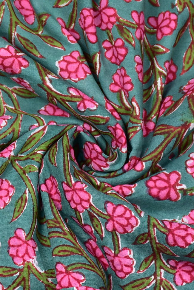 Sea Green Flower Print Cotton Fabric