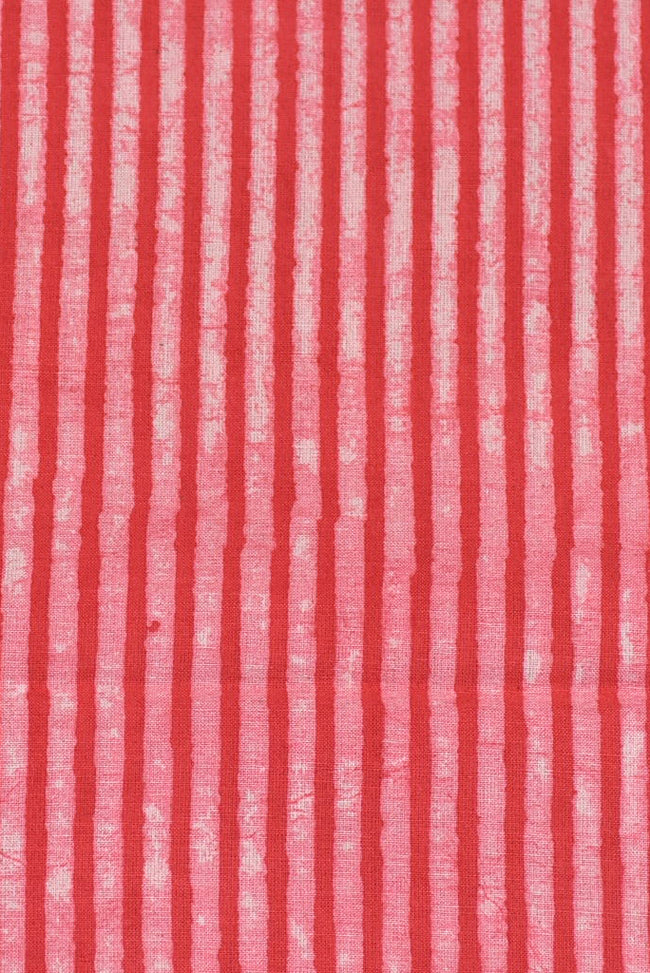Red Stripes Print Cotton Fabric