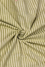 Light Green Stripes Print Cotton Fabric