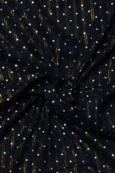 Black Polka Dots Print Cotton Lurex Fabric