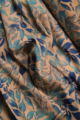 Blue & Grey Leaf Printed Muslin Fabric