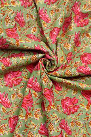 Green Flower Cambric Print Cotton Fabric