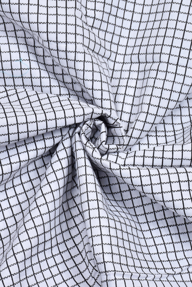 White Check Print Cotton Fabric
