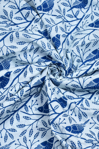 Blue Bird Print Cotton Fabric