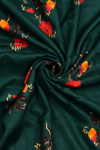 Dark Green Flower Print Rayon Fabric