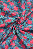 Sky Blue & Pink Flower Print Cotton Fabric