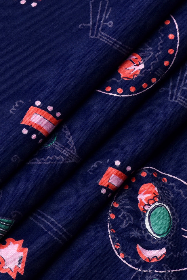 Navy Blue Guitar Print Rayon Fabric