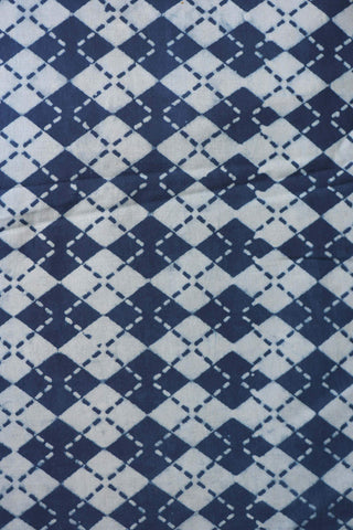 White and Blue Bagru Handblock Cotton Fabric